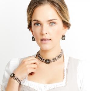Seenberg, Trachtenschmuck, Trachtenkette, Trachtenkropfkette, Choker, Ohrringe, altsilber, nude, Perlen, Österreich