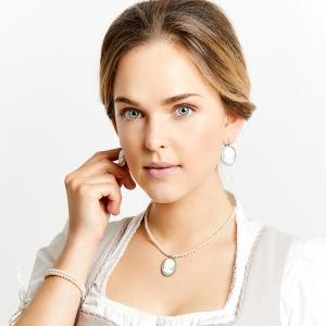 Seenberg, Trachtenschmuck, Trachtenkette, Trachtenkropfkette, Choker, Ohrringe, Perlen, Samt, Österreich