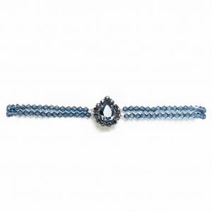Seenberg, Trachtenschmuck, Trachtenkette, Trachtenohrringe, Kropfcollier, blau, Kristall, Perlen, Österreich